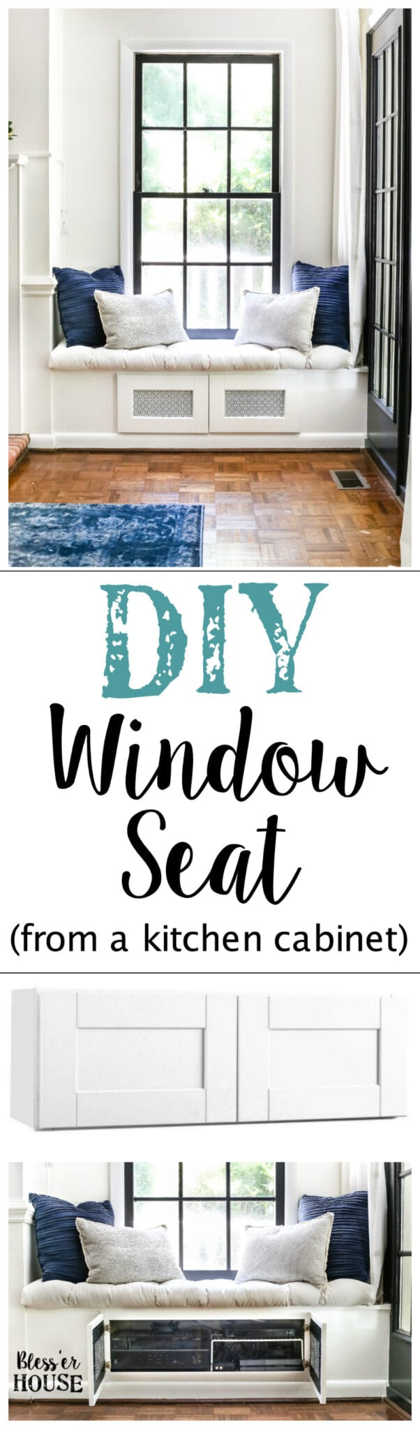 DIY Window Seat From A Kitchen Cabinet | Blesserhouse.com   A Simplified  Tutorial For
