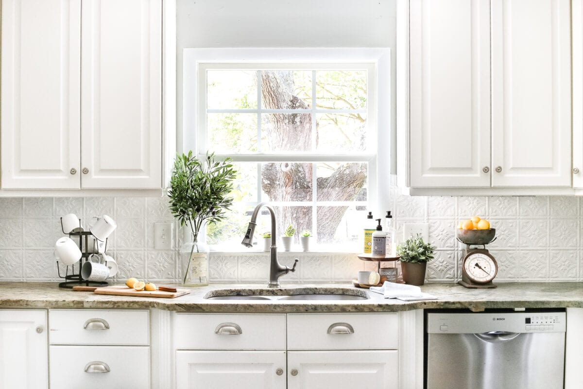 Exceptionnel DIY Pressed Tin Kitchen Backsplash | Blesserhouse.com   How To Makeover A Kitchen  Backsplash