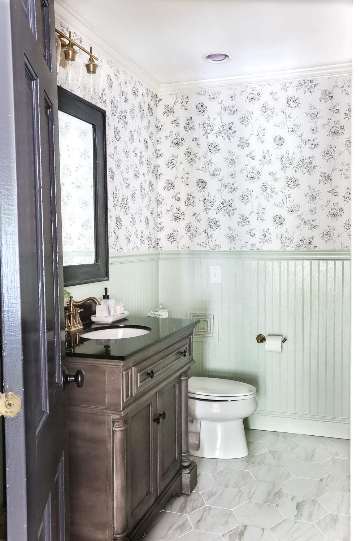 Aqua Meets Urban Powder Room Reveal | blesserhouse.com - A dated powder room gets a modern meets traditional, urban meets farmhouse makeover with aquas, black and white, and antique brass.