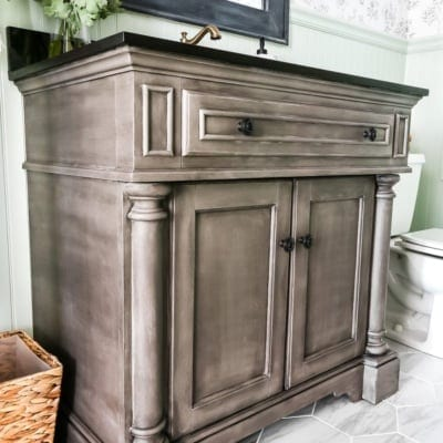 Weathered Gray Wood Look Vanity Makeover