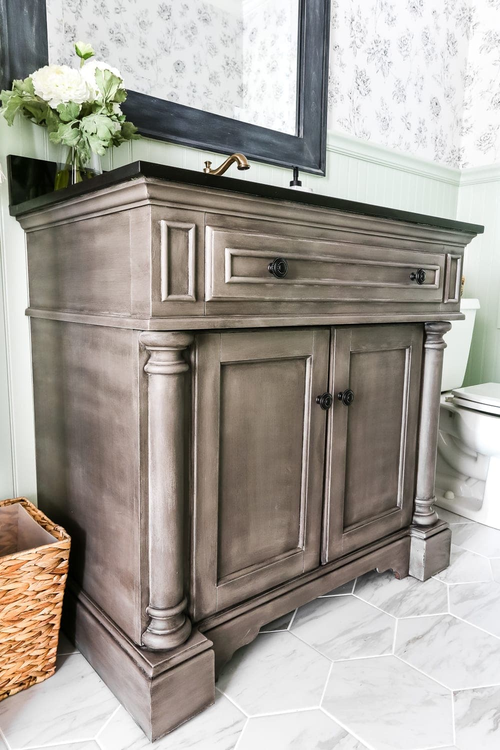 Weathered Gray Wood Look Vanity Makeover Bless Er House