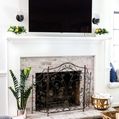 DIY Lime Washed Brick Fireplace