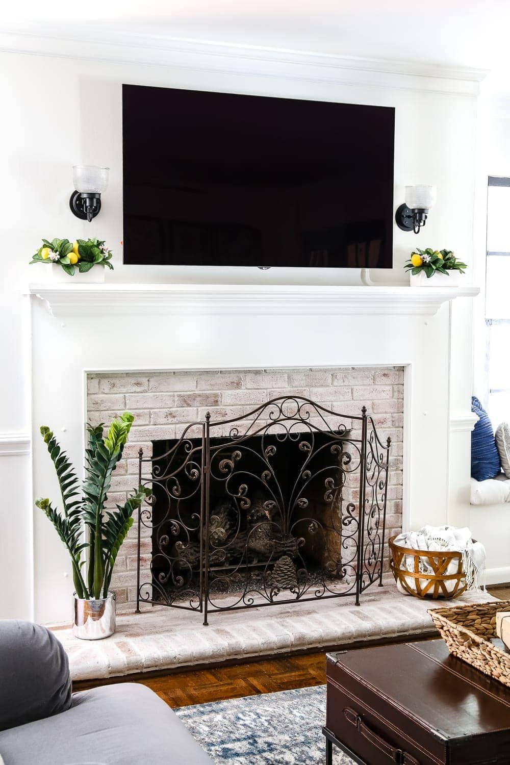 Brick Fireplace Part - 36: DIY Lime Washed Brick Fireplace | Blesserhouse.com - A Dirty And Tired  Orange Brick