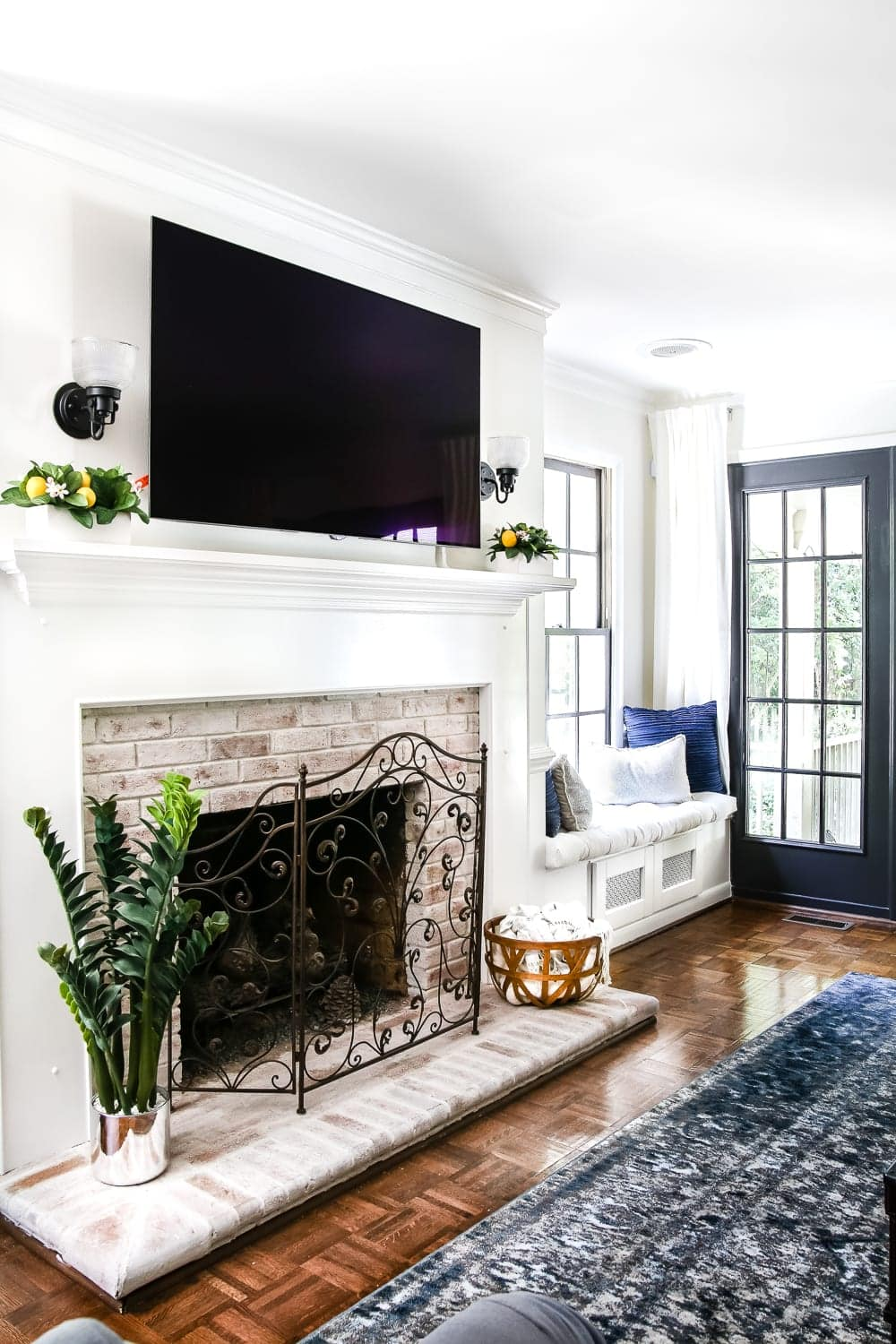 Delightful DIY Lime Washed Brick Fireplace | Blesserhouse.com   A Dirty And Tired  Orange Brick