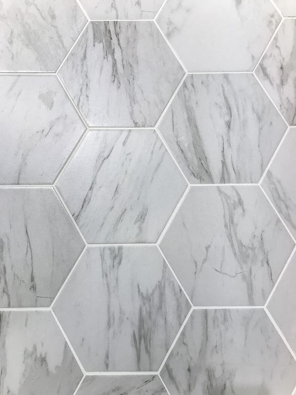 Powder room makeover faux marble tile floor blesser house the best faux marble tile blesserhouse a dated powder room floor gets dailygadgetfo Images