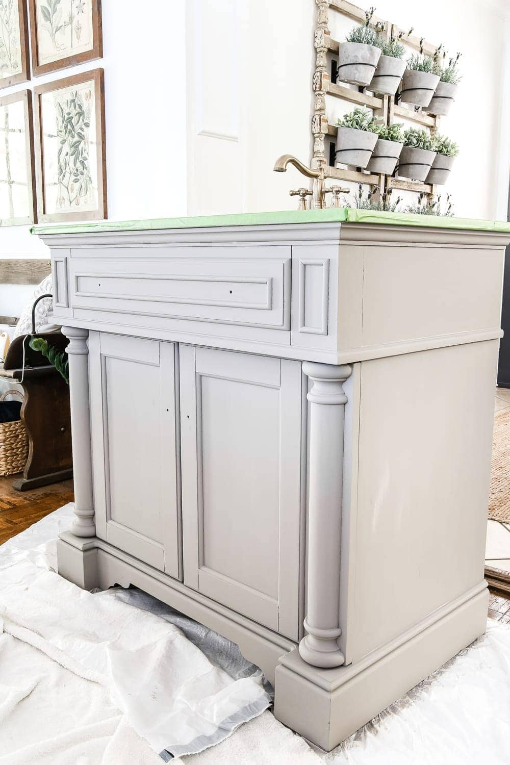 Weathered Gray Wood Look Vanity Makeover Blesserhouse A Gets