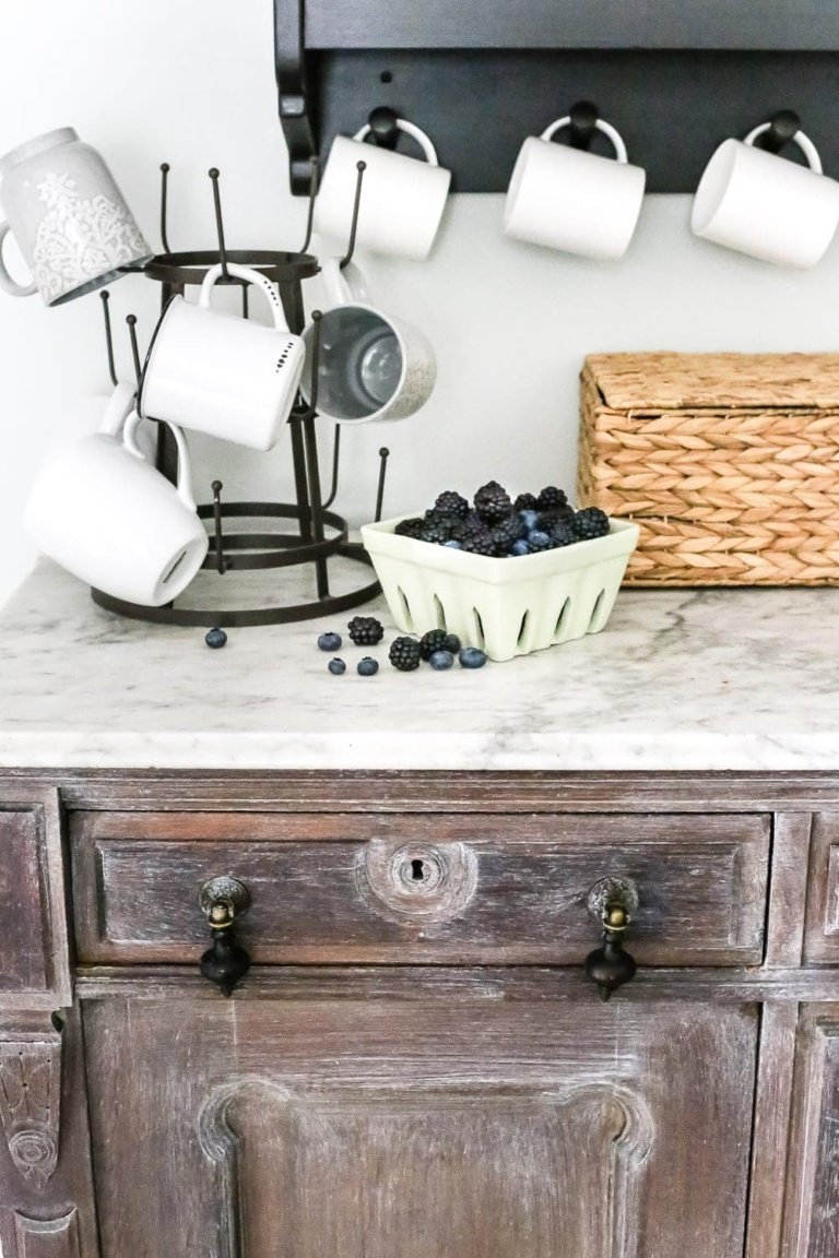 White Waxed Coffee Bar Makeover