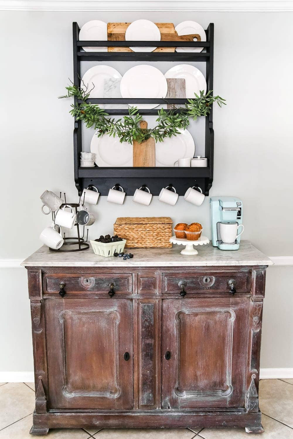 White Waxed Marble Top Coffee Bar Makeover | blesserhouse.com - An old, damaged marble topped buffet gets a clean up and white wax makeover and is styled into a modern, chic coffee bar.