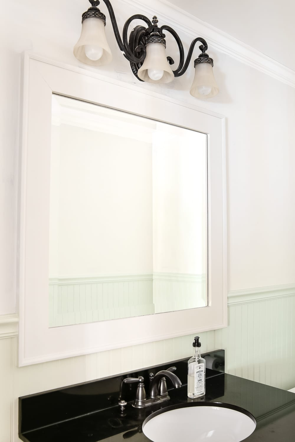 Dry Brushed Black Mirror Makeover | Blesserhouse.com   A Plain, White  Painted Bathroom