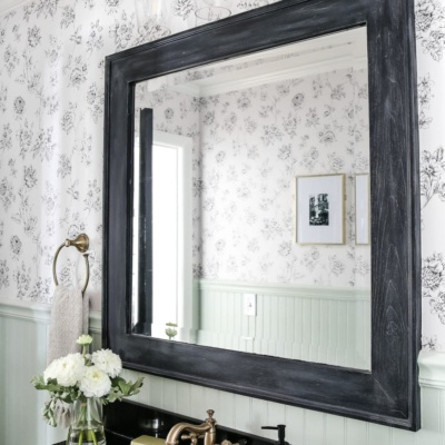 Dry Brushed Black Mirror Makeover