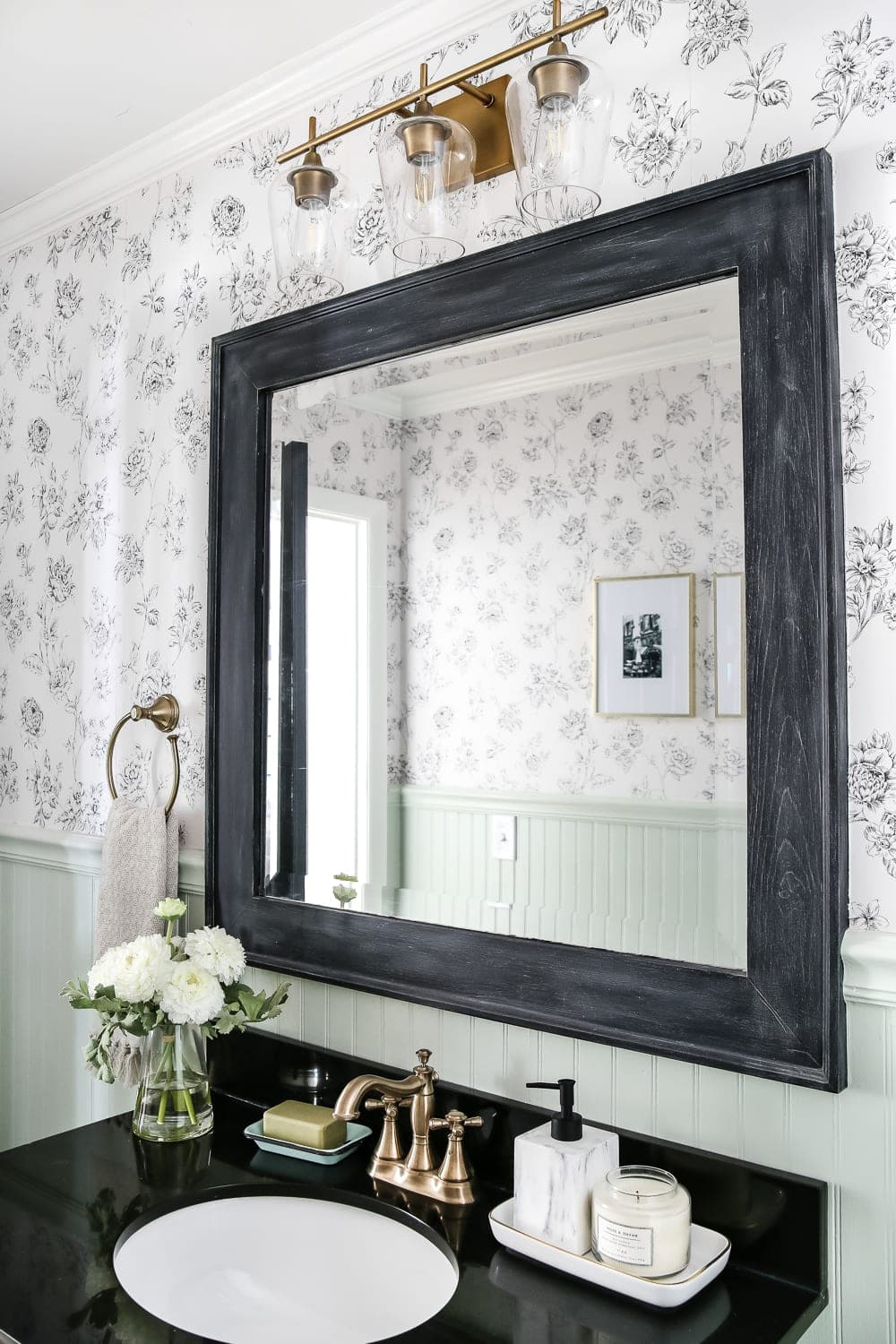 Dry Brushed Black Mirror Makeover Blesserhouse A Plain White Painted Bathroom