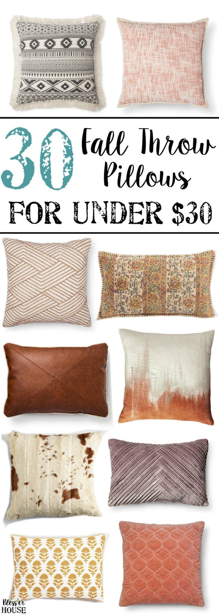 30 Fall Pillows Under $30 | blesserhouse.com - A budget shopping home decor round-up of 30 fall pillows with velvet, leather, knit, and autumn colors, all for under $30.