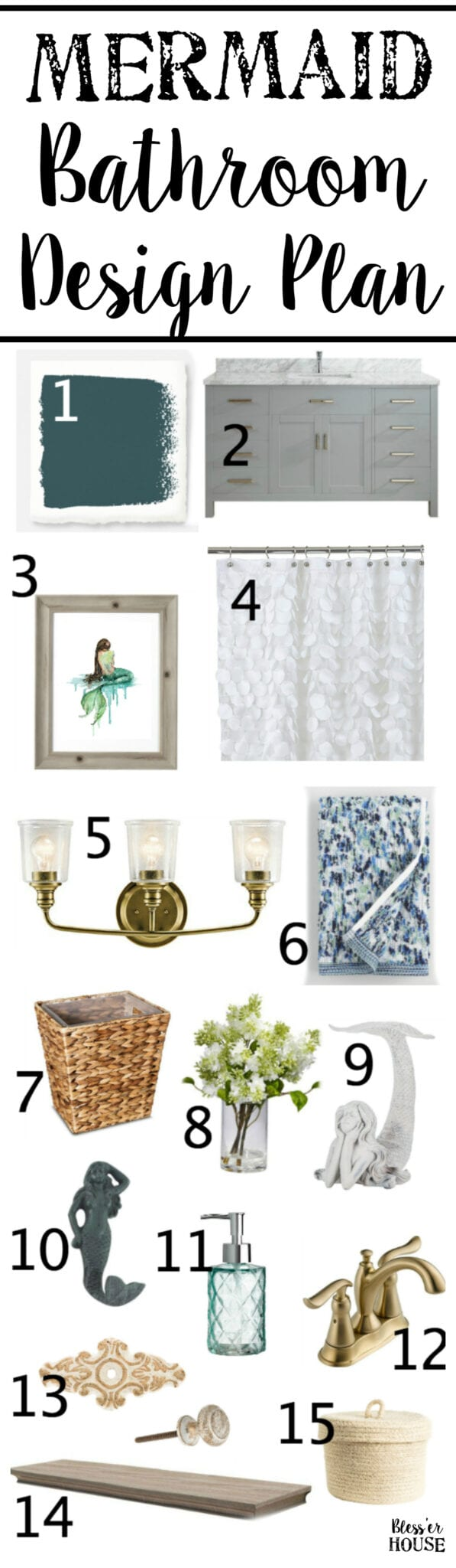Mermaid Bathroom Design Plan | Blesserhouse.com   A Before Tour Of A Tired  Beige