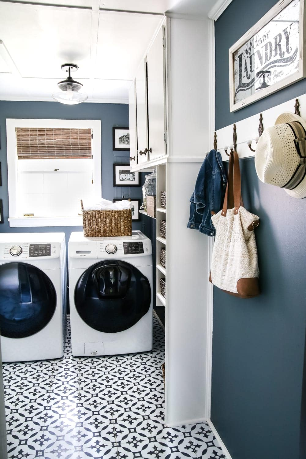 Organized laundry room + tips for decluttering and free checklist printable