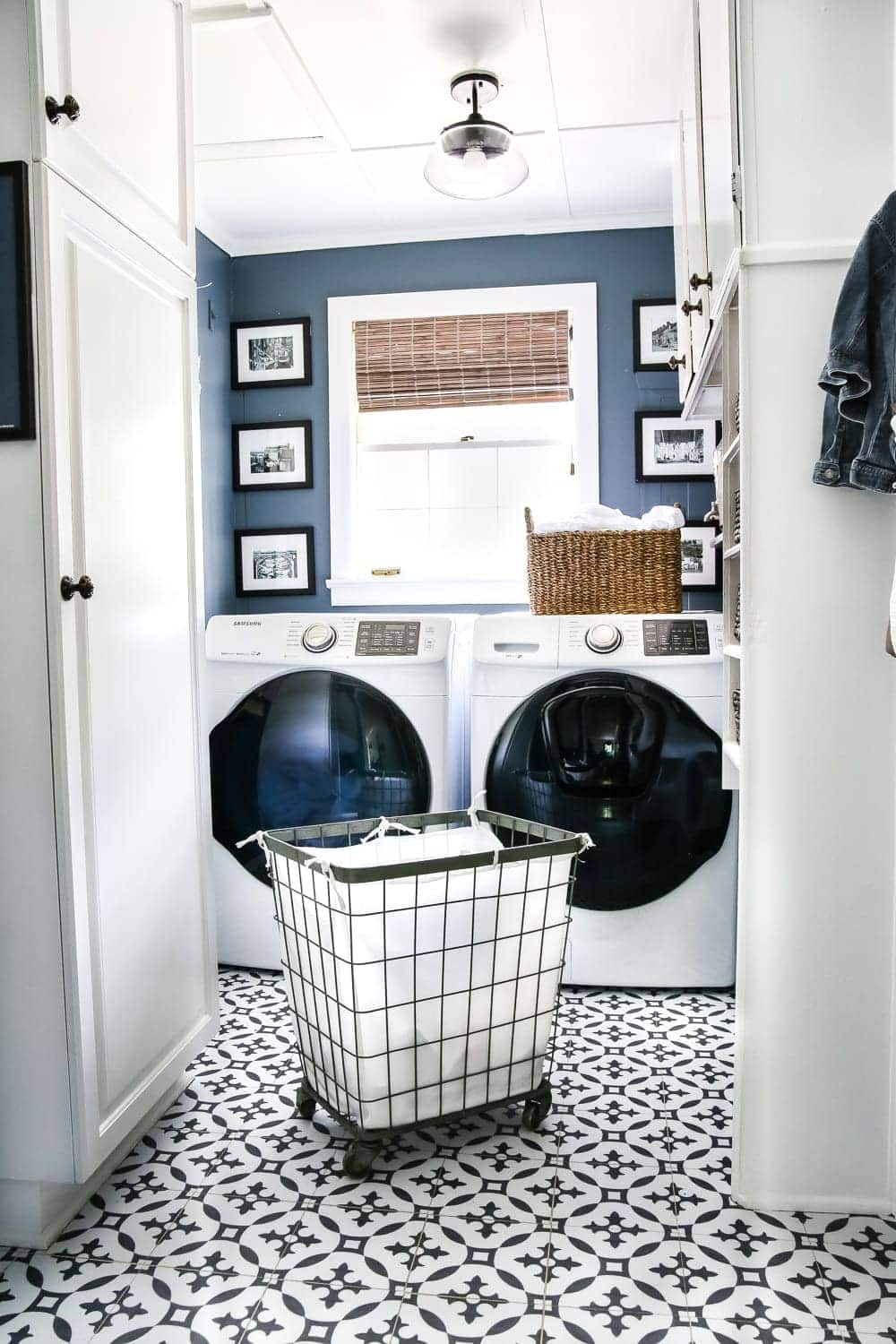 Slate blue laundry room with peel and stick vinyl patterned floor