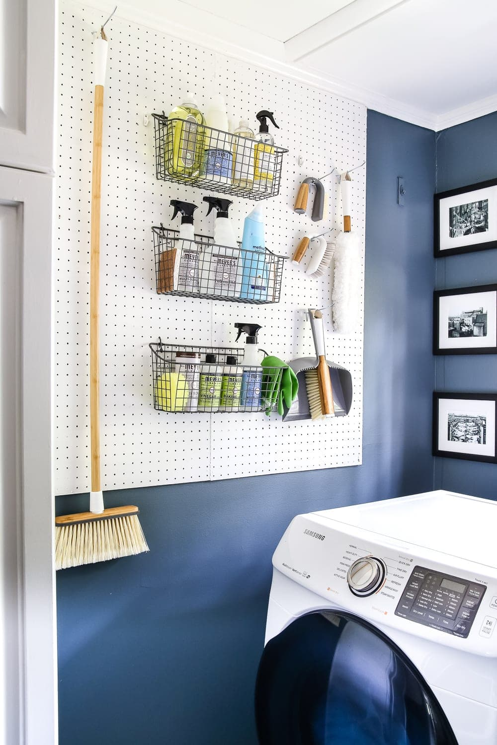 laundry room pegboard to organize cleaning supplies