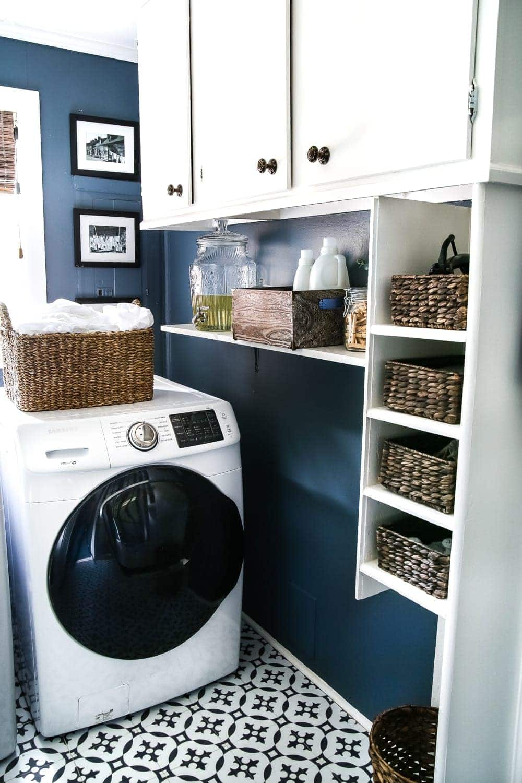 High Contrast Laundry Room Makeover Reveal - Bless'er House