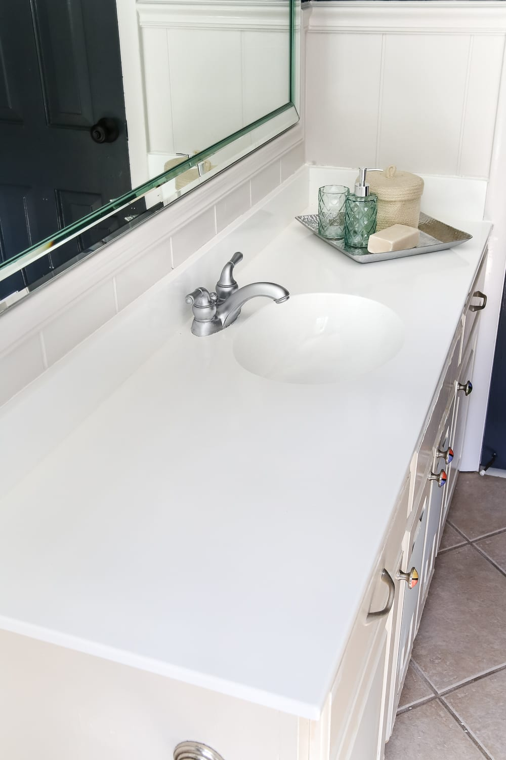 DIY Painted Bathroom Sink Countertop - Bless\'er House