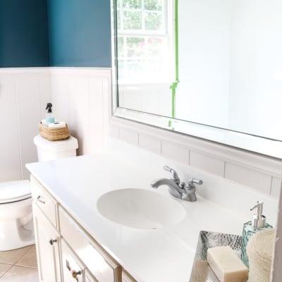 DIY Painted Bathroom Sink Countertop