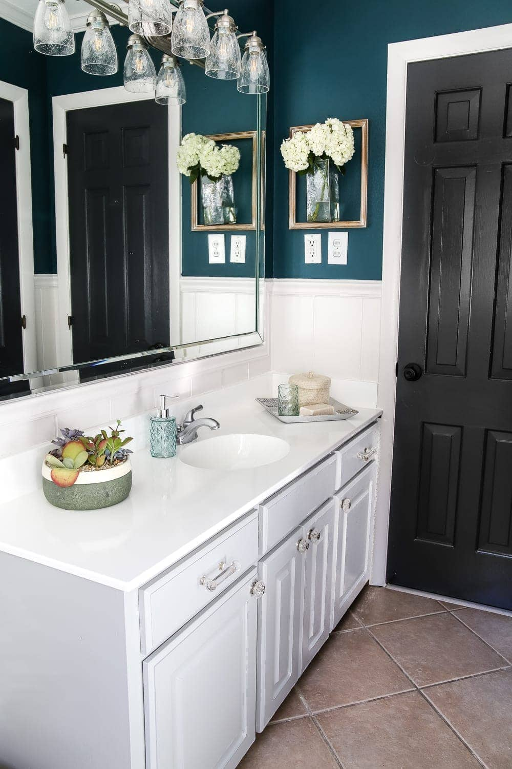 Painted Cabinet Bathroom Update | blesserhouse.com - A dated cabinet gets a refresh with Benjamin Moore Coventry Gray for an inexpensive bathroom update. #cabinetpainting #homeimprovement #bathroom