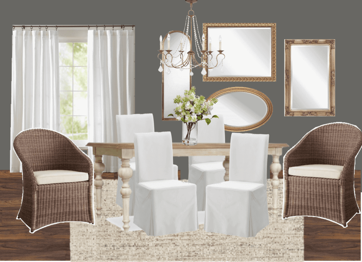 High Contrast Dining Room Makeover Plans | blesserhouse.com - A mediocre beige dining room gets a high contrast design plan with lots of French-inspired neutrals that are formal but still family-friendly. #diningroom
