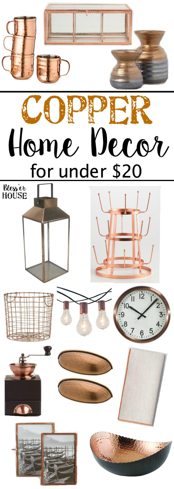 Copper Home Decor for Under $20 | blesserhouse.com - The ultimate list of copper home decor items for a small budget for fall or any time of year. #copperdecor #falldecor #shoppingguide