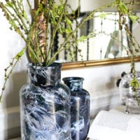 DIY Marbled Vases and Halloween Entryway
