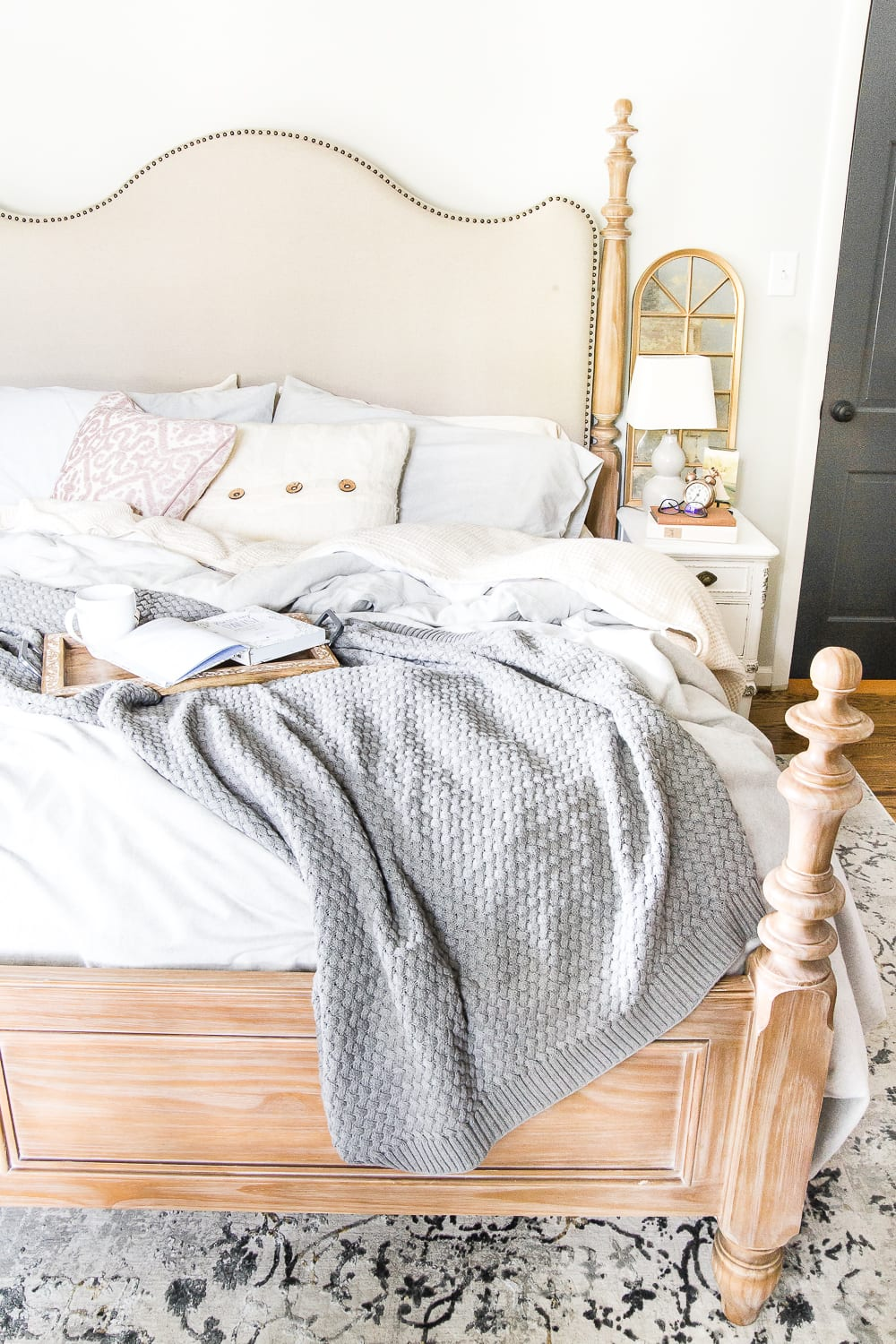 7 Ways I Relieve Anxiety at Bedtime | blesserhouse.com - Tips for relieving stress and anxiety with bedtime rituals, decorating advice, and favorite products that work to help you unwind. #cozyliving #bedroom #anxiety #stressrelief #lifestyle cozy bedding