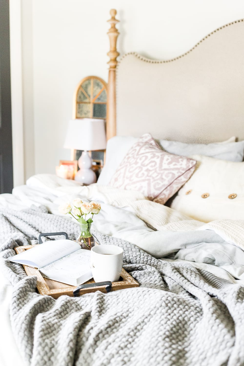 7 Ways I Relieve Anxiety at Bedtime | blesserhouse.com - Tips for relieving stress and anxiety with bedtime rituals, decorating advice, and favorite products that work to help you unwind each day. #cozyliving #bedroom #anxiety #stressrelief #lifestyle bedroom tray