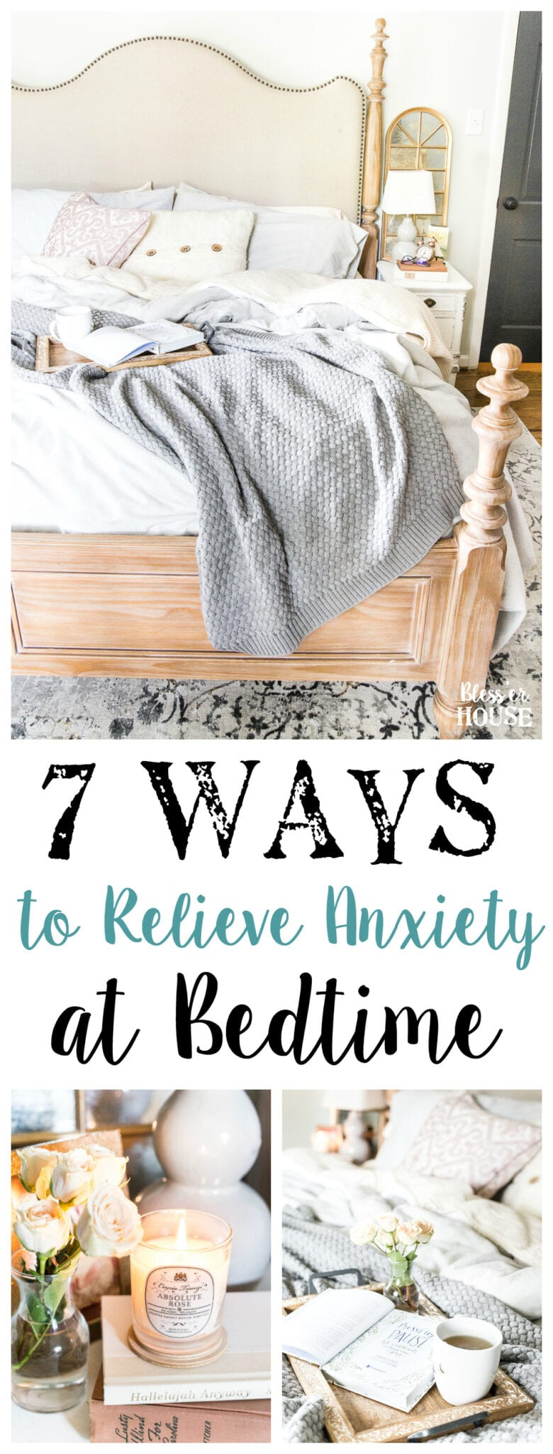 7 Ways I Relieve Anxiety at Bedtime | blesserhouse.com - Tips for relieving stress and anxiety with bedtime rituals, decorating advice, and favorite products that work to help you unwind each day. #cozyliving #bedroom #anxiety #stressrelief #lifestyle
