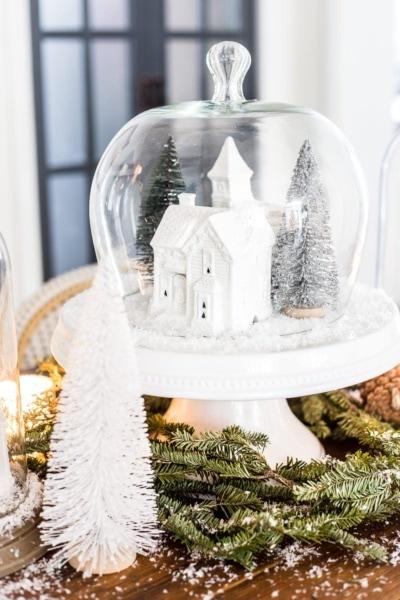 Christmas Village Snow Globe Centerpiece