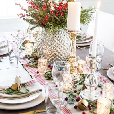 Mercury Glass Christmas Tablescape