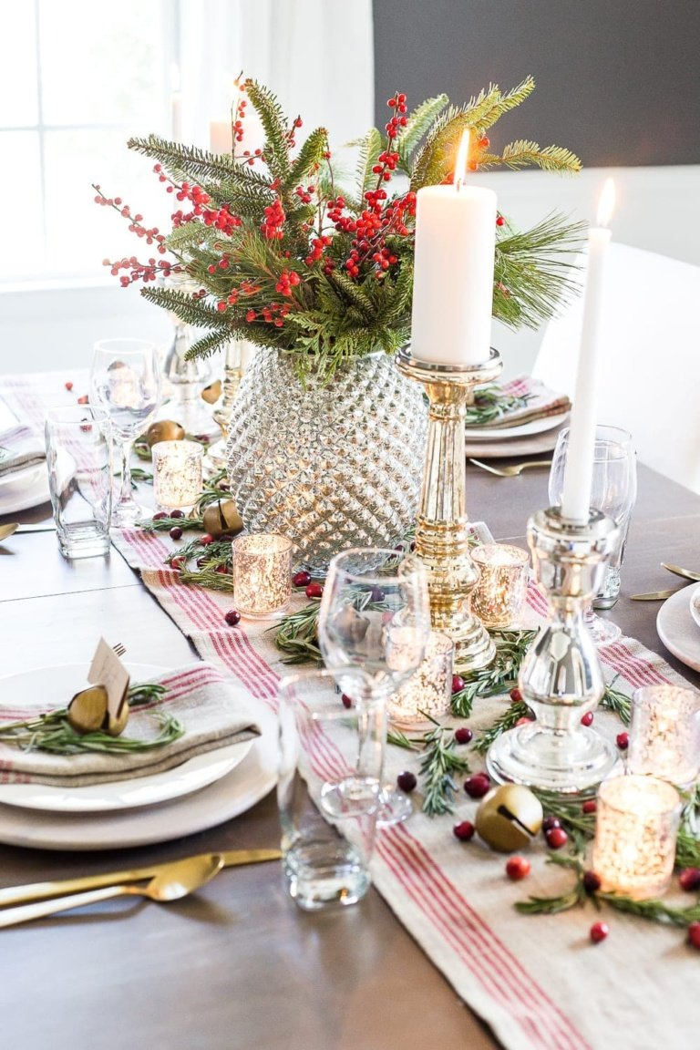 Mercury Glass Christmas Tablescape
