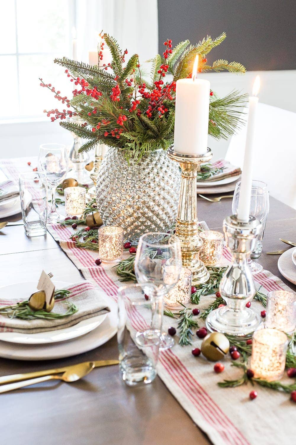 Mercury glass christmas tablescape bless 39 er house - Modern christmas table settings ideas ...