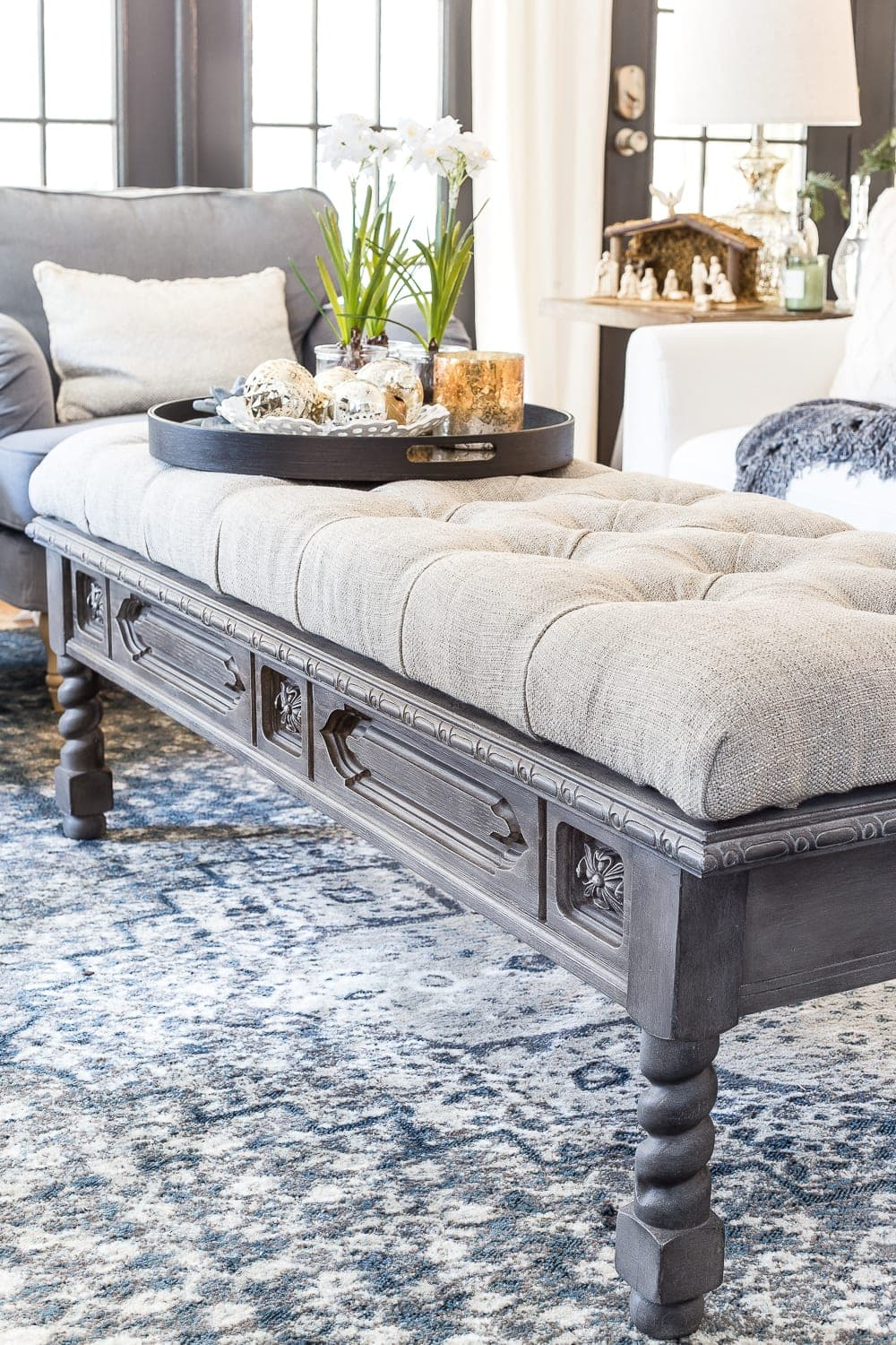 DIY Ottoman Bench From A Repurposed Thrift Store Coffee Table |  Blesserhouse.com   How