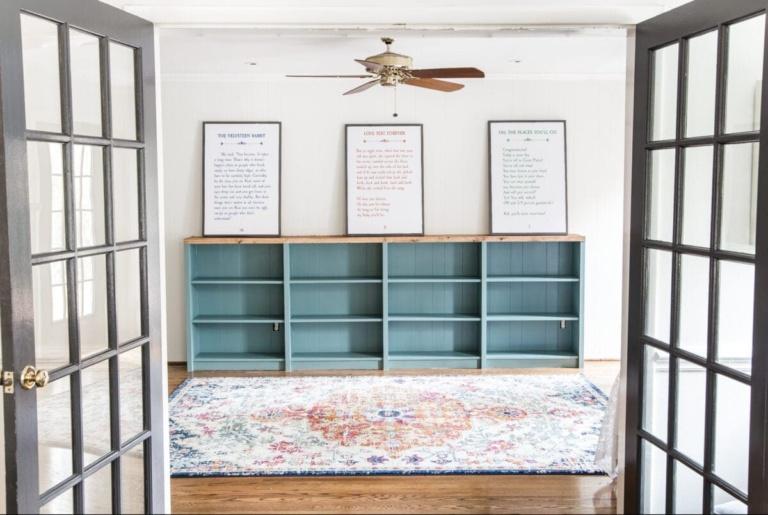 DIY Playroom Bookcase Built-Ins