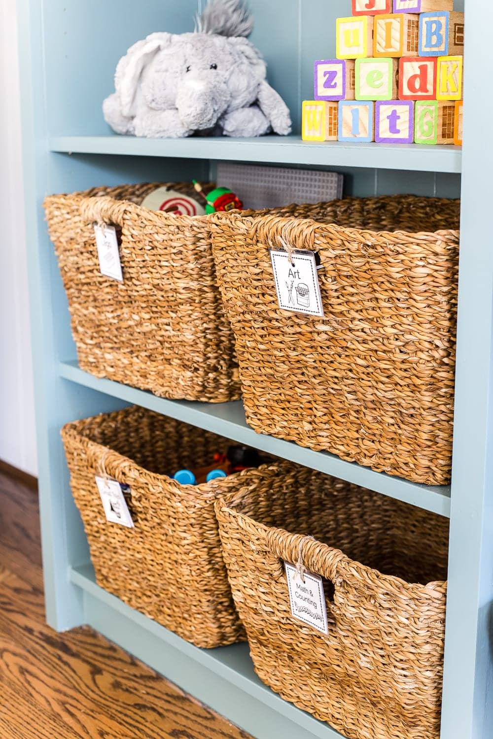 kid-friendly home toy storage baskets with labels
