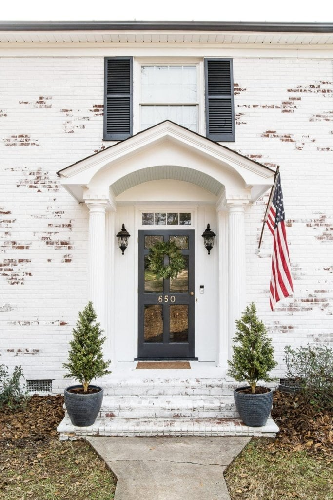 House Paint Exterior Exterior Stairs Exterior Brick: Limewashed Brick Exterior Makeover Reveal