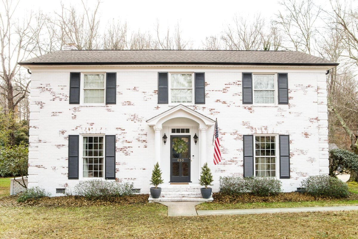 Limewashed Brick Exterior Makeover Reveal | Blesserhouse.com   A Brick  Fixer Upper Colonial House