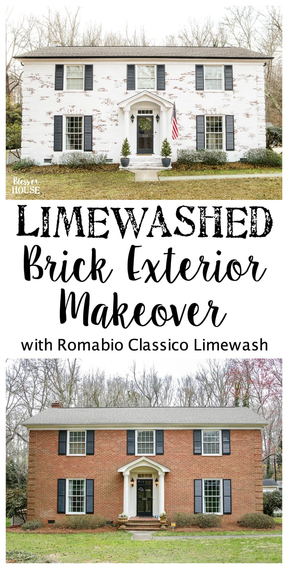Limewashed Brick Exterior Makeover Reveal Bless 39 Er House