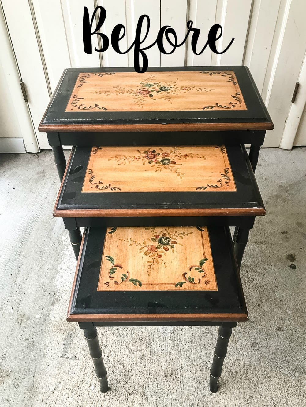 Faux Bone Inlay Nesting Tables Makeover Blesserhouse How To Stencil Furniture