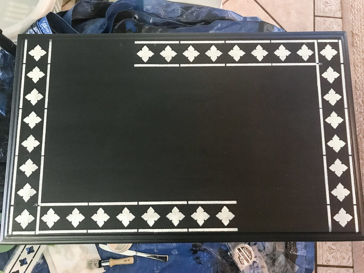 Faux Bone Inlay Nesting Tables Makeover   blesserhouse.com - How to stencil furniture to look like an Indian bone inlay Anthropologie piece plus more thrift store furniture makeover ideas. #furnituremakeover #knockoff #thrift #stencil