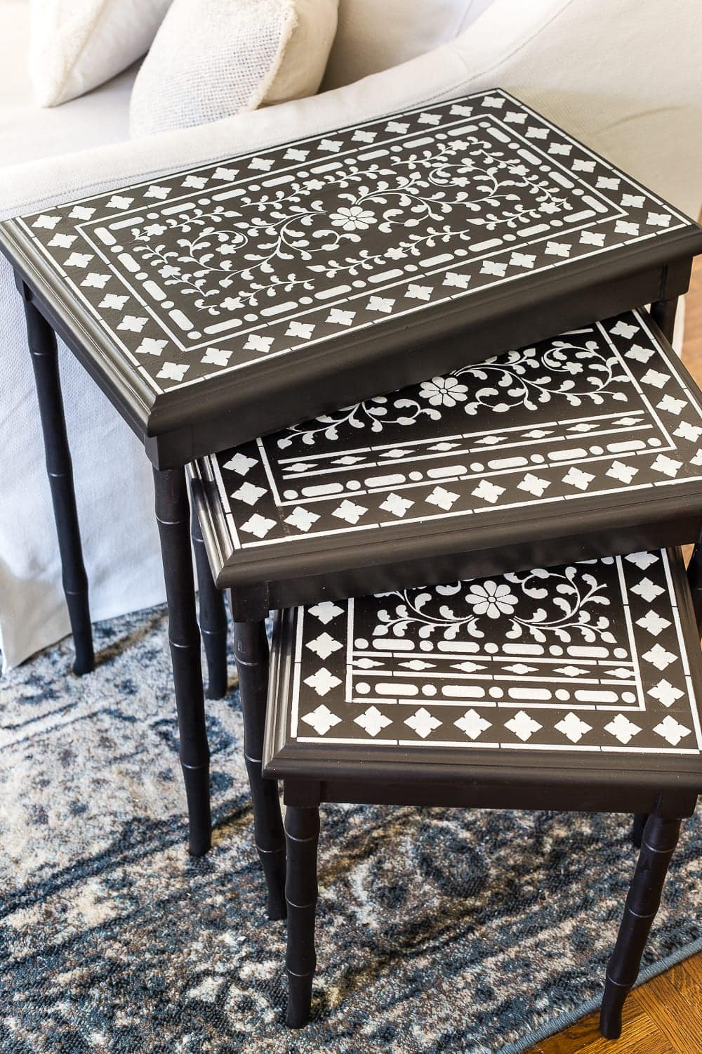Faux Bone Inlay Nesting Tables Makeover Bless Er House