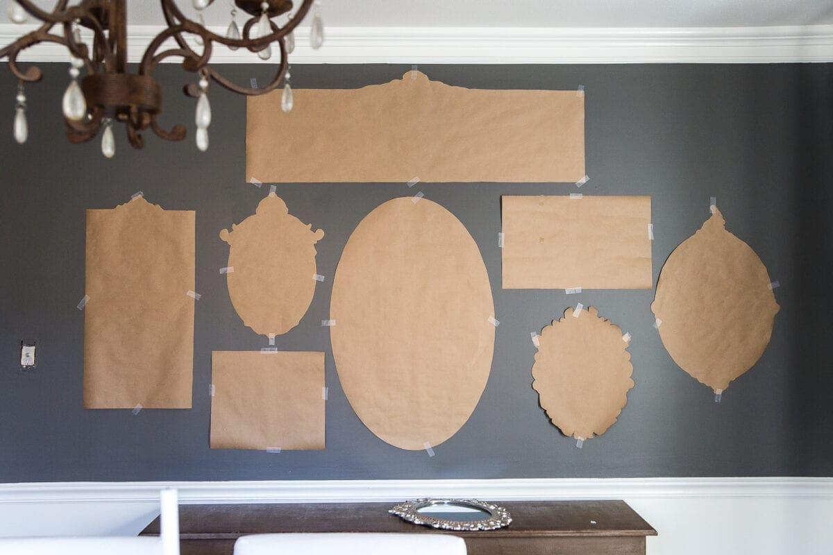A couple of tricks for hanging the perfect mirror gallery wall plus ideas for a traditional meets modern eclectic dining room. #diningroom #gallerywall #walldecor #mirrors