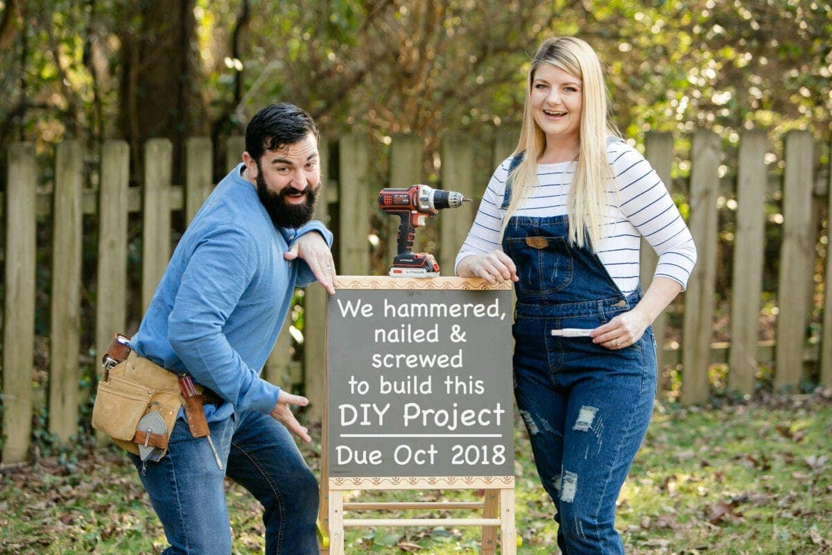 Bless'er House pregnancy announcement - for the DIY project tackling couple #pregnancyannouncement