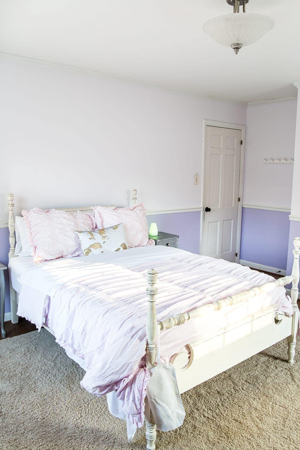 A Sweet Pastel Little Girl Bedroom Makeover With Behr My Sweetheart And  Retro Wallpaper To Transition