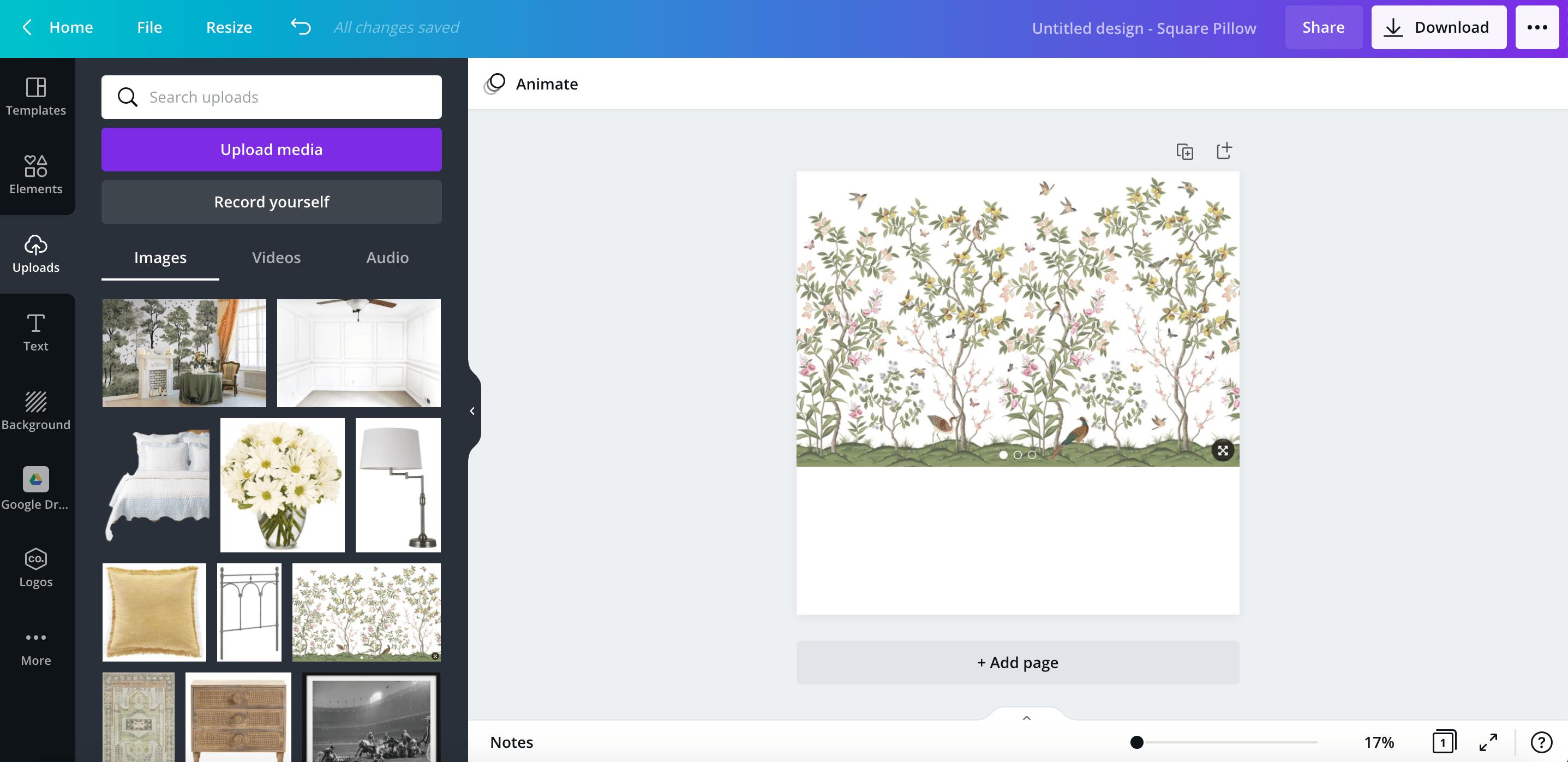 adding wallpaper to a mood board