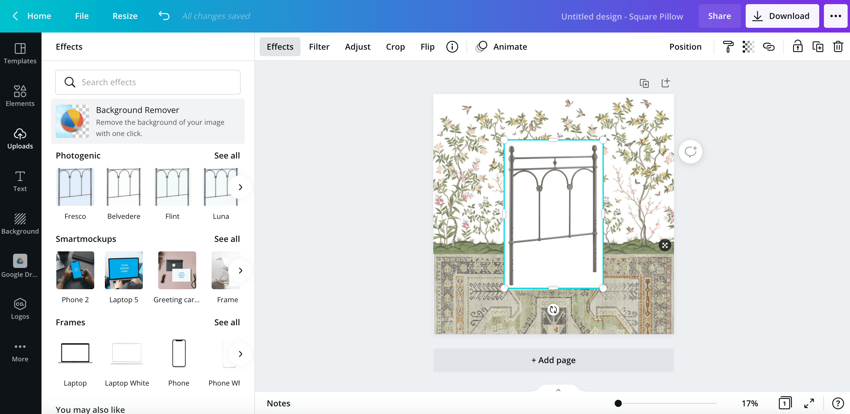 how to remove an image background using the canva app