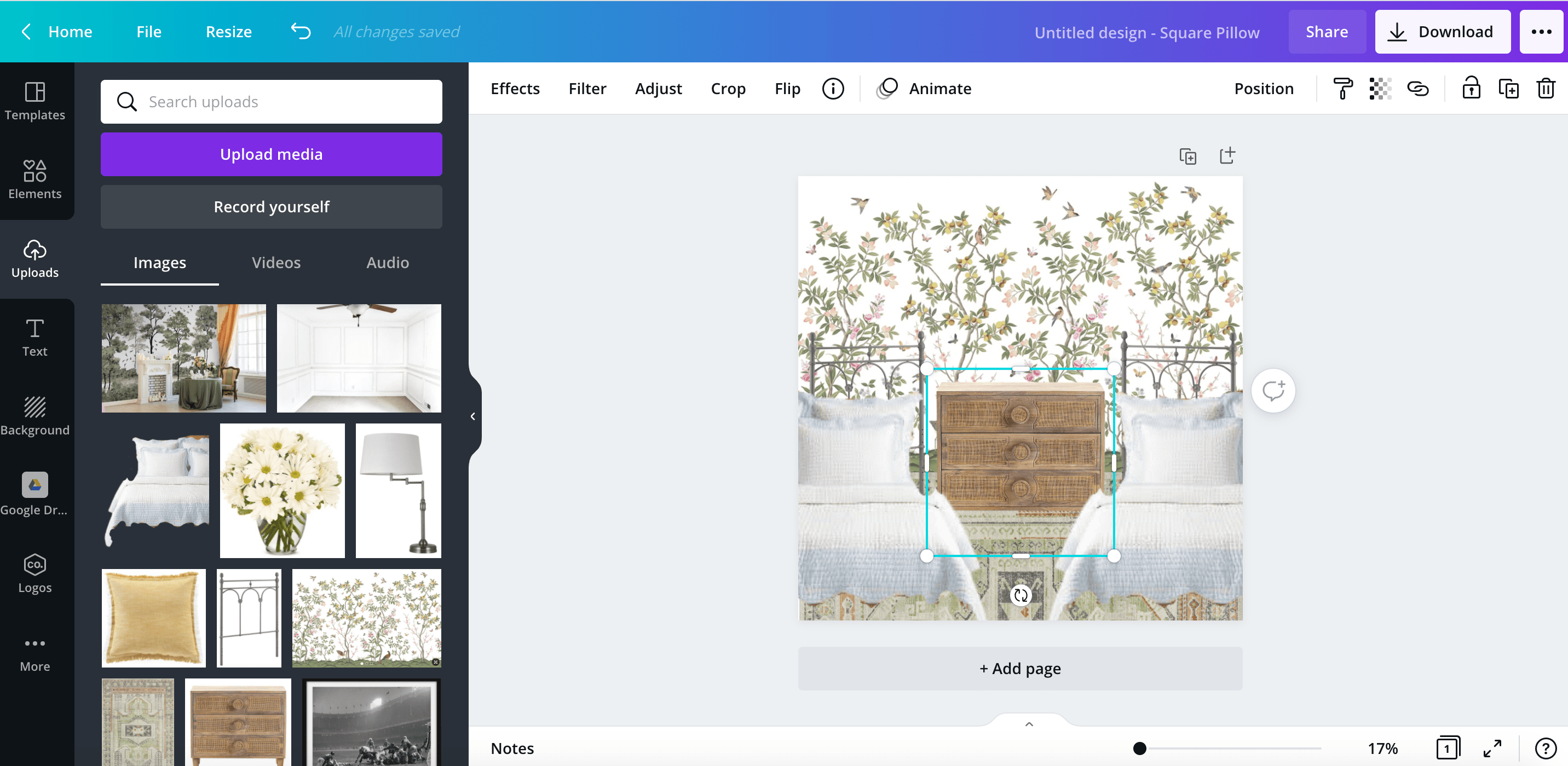 how to layer an image using the canva app