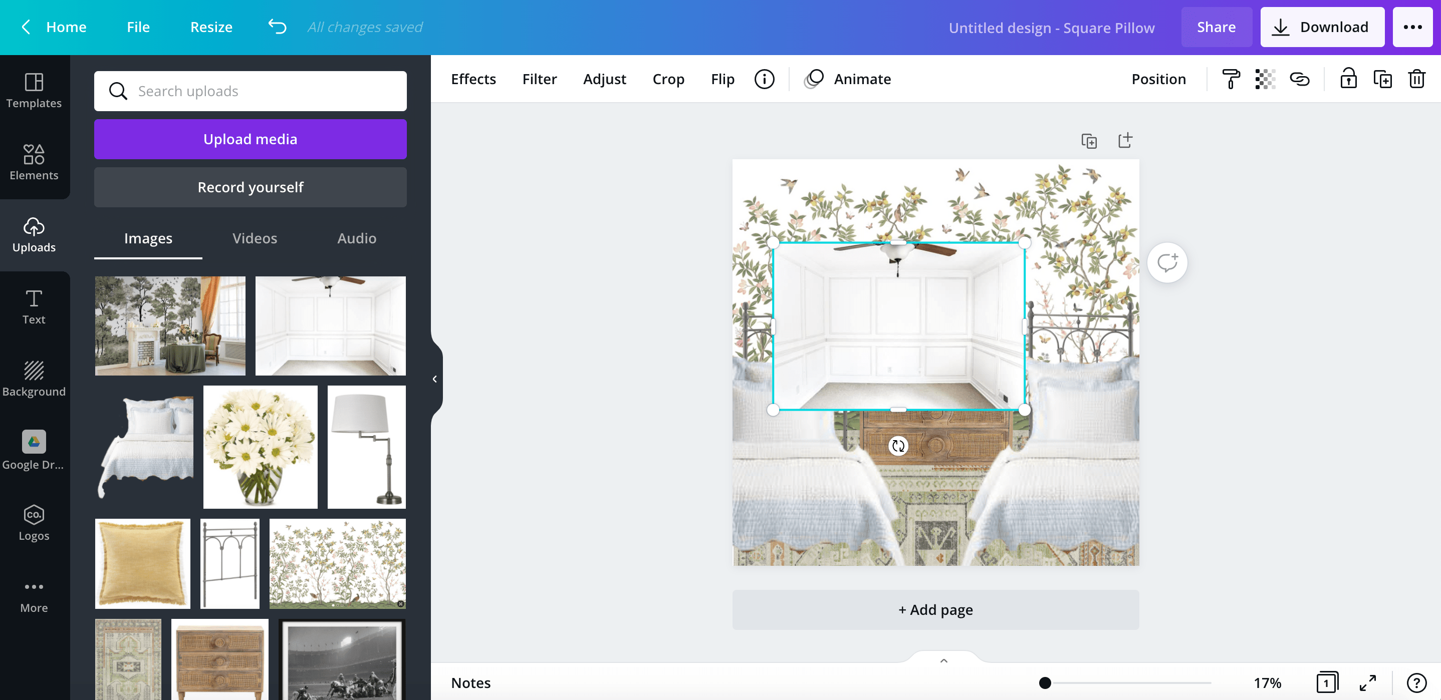 how to make a mood board for a room design using the canva app